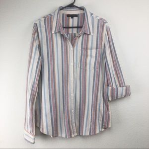 Sanctuary Medium Cotton Striped Button Up Shirt
